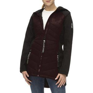BeBe Womens Outerwear Bubble Jacket with Softshell